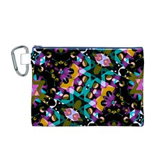 Digital Futuristic Geometric Pattern Canvas Cosmetic Bag (Medium)