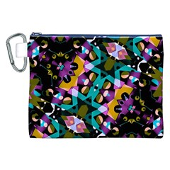 Digital Futuristic Geometric Pattern Canvas Cosmetic Bag (XXL)