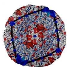 Floral Pattern Digital Collage 18  Premium Round Cushion