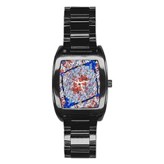 Floral Pattern Digital Collage Stainless Steel Barrel Watch