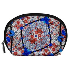 Floral Pattern Digital Collage Accessory Pouch (Large)