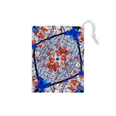 Floral Pattern Digital Collage Drawstring Pouch (Small)
