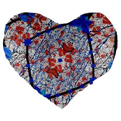 Floral Pattern Digital Collage 19  Premium Flano Heart Shape Cushion