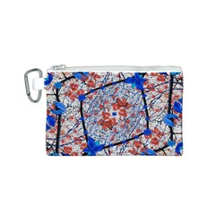Floral Pattern Digital Collage Canvas Cosmetic Bag (Small)