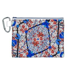 Floral Pattern Digital Collage Canvas Cosmetic Bag (Large)