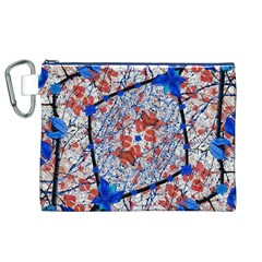 Floral Pattern Digital Collage Canvas Cosmetic Bag (XL)