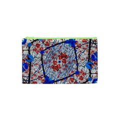 Floral Pattern Digital Collage Cosmetic Bag (XS)