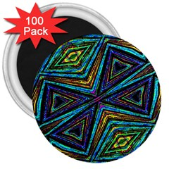 Tribal Style Colorful Geometric Pattern 3  Button Magnet (100 Pack)