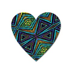 Tribal Style Colorful Geometric Pattern Magnet (heart)