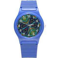 Tribal Style Colorful Geometric Pattern Plastic Sport Watch (small)