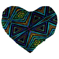 Tribal Style Colorful Geometric Pattern 19  Premium Heart Shape Cushion