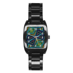 Tribal Style Colorful Geometric Pattern Stainless Steel Barrel Watch