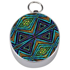 Tribal Style Colorful Geometric Pattern Silver Compass