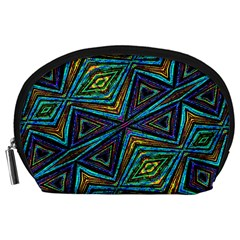 Tribal Style Colorful Geometric Pattern Accessory Pouch (Large)