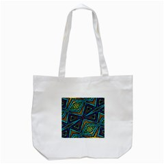 Tribal Style Colorful Geometric Pattern Tote Bag (white)