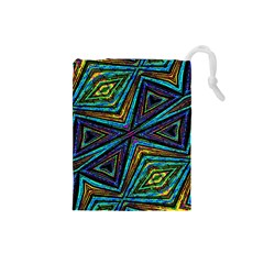 Tribal Style Colorful Geometric Pattern Drawstring Pouch (small)