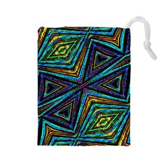 Tribal Style Colorful Geometric Pattern Drawstring Pouch (Large)