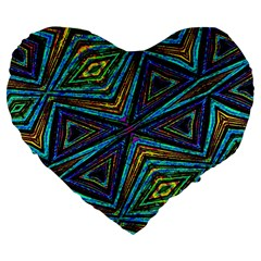 Tribal Style Colorful Geometric Pattern 19  Premium Flano Heart Shape Cushion