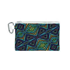 Tribal Style Colorful Geometric Pattern Canvas Cosmetic Bag (Small)