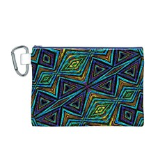 Tribal Style Colorful Geometric Pattern Canvas Cosmetic Bag (medium)