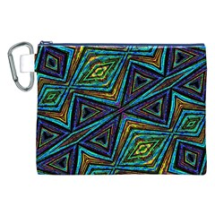 Tribal Style Colorful Geometric Pattern Canvas Cosmetic Bag (XXL)