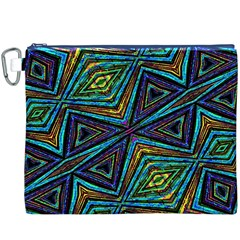 Tribal Style Colorful Geometric Pattern Canvas Cosmetic Bag (XXXL)