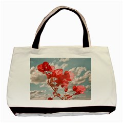 Flowers In The Sky Twin-sided Black Tote Bag