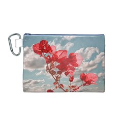 Flowers In The Sky Canvas Cosmetic Bag (medium)