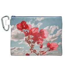 Flowers In The Sky Canvas Cosmetic Bag (XL)