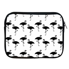 Flamingo Pattern Black On White Apple Ipad Zippered Sleeve