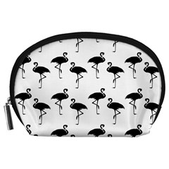 Flamingo Pattern Black On White Accessory Pouch (Large)