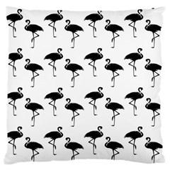 Flamingo Pattern Black On White Large Flano Cushion Case (Two Sides)