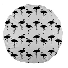 Flamingo Pattern Black On White 18  Premium Flano Round Cushion