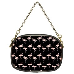 Pink Flamingo Pattern On Black  Chain Purse (two Sided)