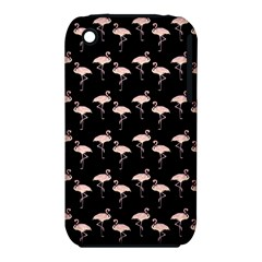 Pink Flamingo Pattern On Black  Apple Iphone 3g/3gs Hardshell Case (pc+silicone)