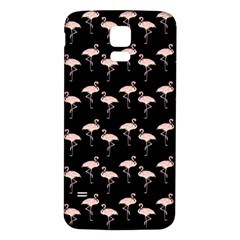 Pink Flamingo Pattern On Black  Samsung Galaxy S5 Back Case (White)