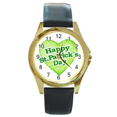 Happy St Patricks Day Design Round Leather Watch (Gold Rim)