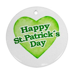 Happy St Patricks Day Design Round Ornament (Two Sides)