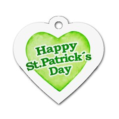 Happy St Patricks Day Design Dog Tag Heart (Two Sided)
