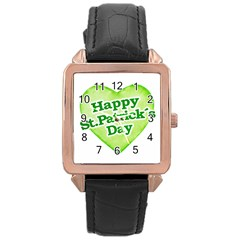 Happy St Patricks Day Design Rose Gold Leather Watch