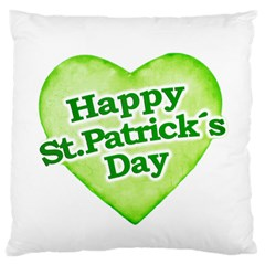 Happy St Patricks Day Design Large Flano Cushion Case (one Side)