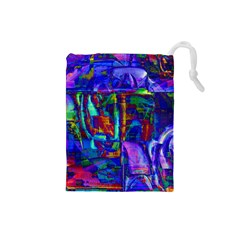 Neon Purple Blue Pink Drawstring Pouch (Small)