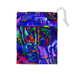 Neon Purple Blue Pink Drawstring Pouch (Large)
