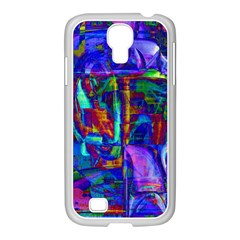 Neon Blue Purple Pink Samsung GALAXY S4 I9500/ I9505 Case (White)