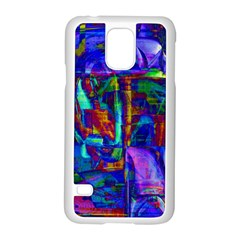 Neon Blue Purple Pink Samsung Galaxy S5 Case (White)