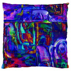 Neon Blue Purple Pink Large Flano Cushion Case (One Side)
