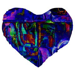 Neon Blue Purple Pink 19  Premium Flano Heart Shape Cushion