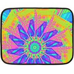 Neon Flower Purple Hot Pink Orange Mini Fleece Blanket (two Sided)