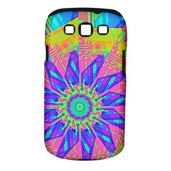 Neon Flower Purple Hot Pink Orange Samsung Galaxy S III Classic Hardshell Case (PC+Silicone)