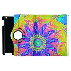 Neon Flower Purple Hot Pink Orange Apple iPad 2 Flip 360 Case
